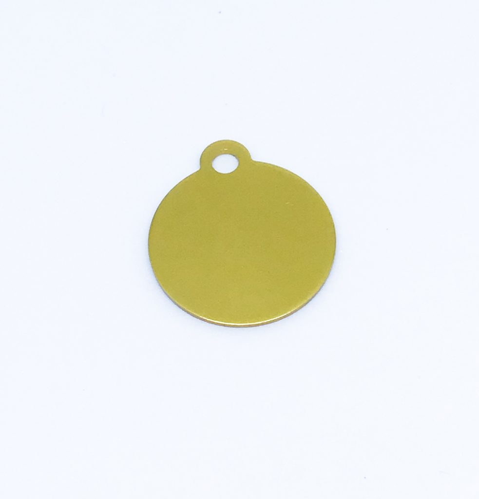 gold round tag